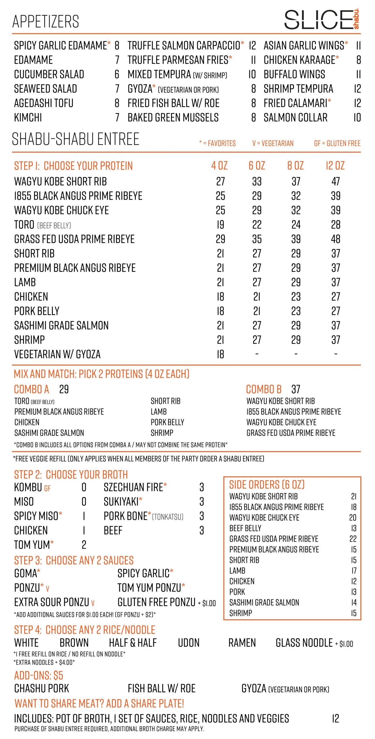 Slice Shabu Main Menu Page 1