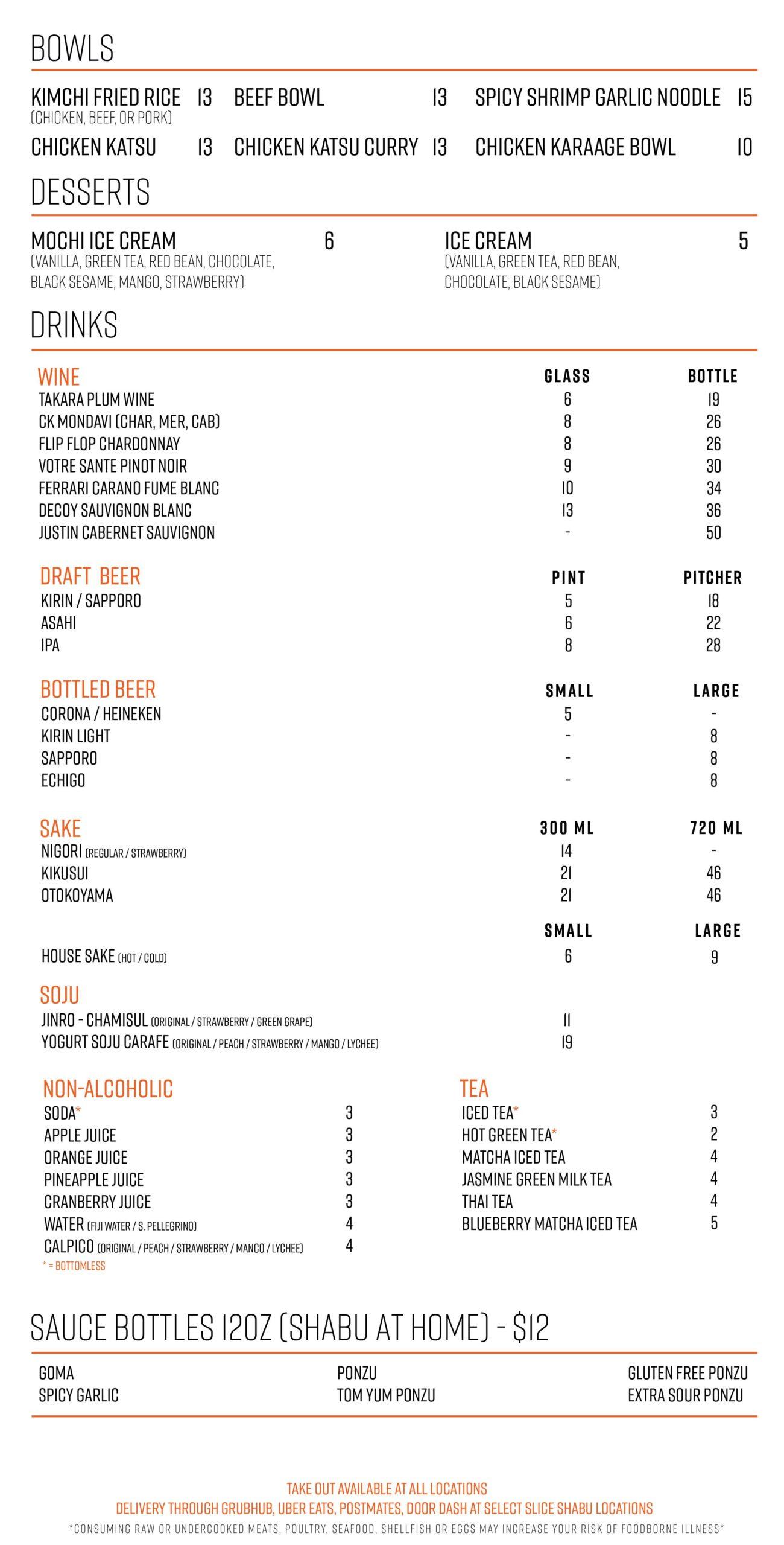 Slice Shabu Main Menu Page 2